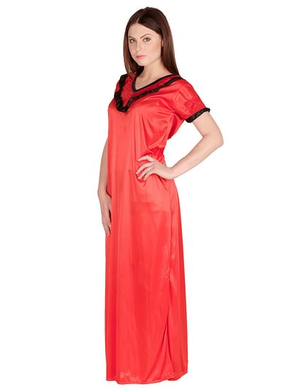 Secret Wish Women's Satin Red Nighty, Nightdress (Free Size, NT-27)