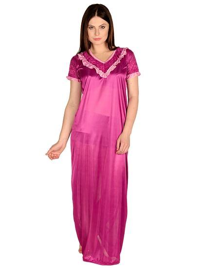 Secret Wish Women's Satin Purple Nighty, Nightdress (Free Size, NT-28)