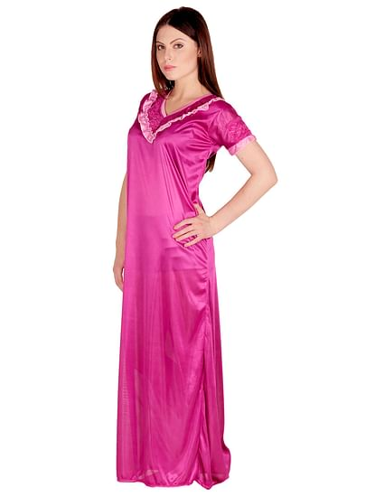 Secret Wish Women's Satin Purple Nighty, Nightdress (Free Size, NT-28)