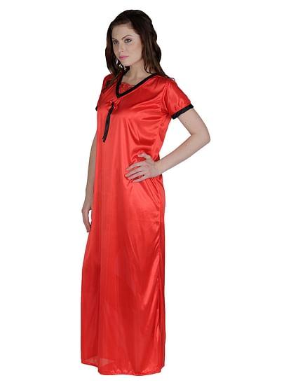Secret Wish Women's Satin Red Nighty, Nightdress (Free Size, NT-62)