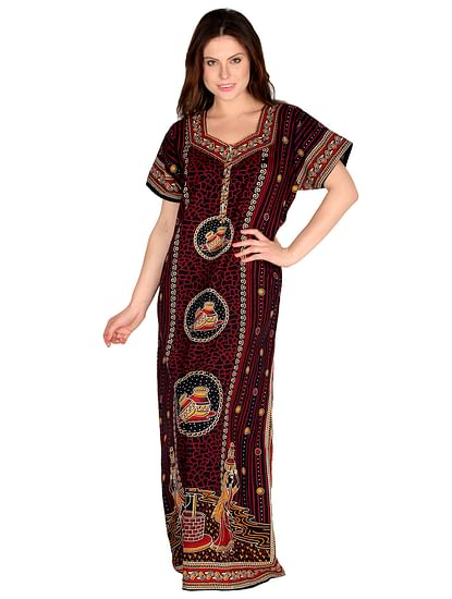 Secret Wish Women's Brown Cotton Printed Maxi Nightdress