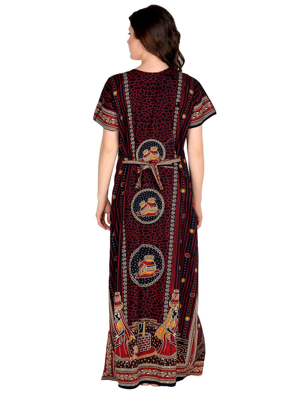 Secret Wish Women's Brown Cotton Printed Maxi Nightdress