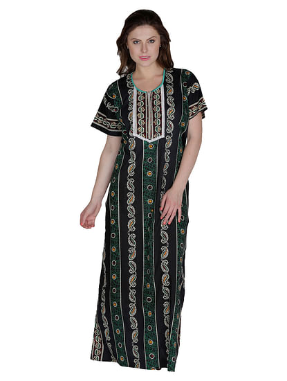 Secret Wish Women's Black Cotton Printed Maxi Nightdress