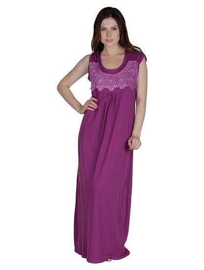 Secret Wish Women's Hosiery Purple Nighty, Nightdress (Free Size, NT-82)