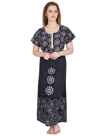 Secret Wish Women's Navy Floral Cotton Print Maxi Nightdress