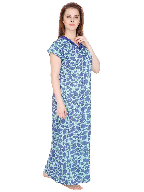 Secret Wish Women's Blue Hosiery Printed Maxi Nightdress