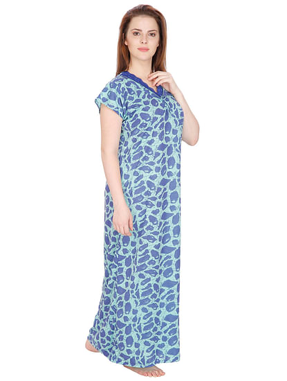 Secret Wish Women's Blue Hosiery Printed Maxi Nightdress