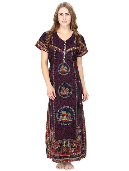 Cotton Brown Nursing Nighty, Nightdress
