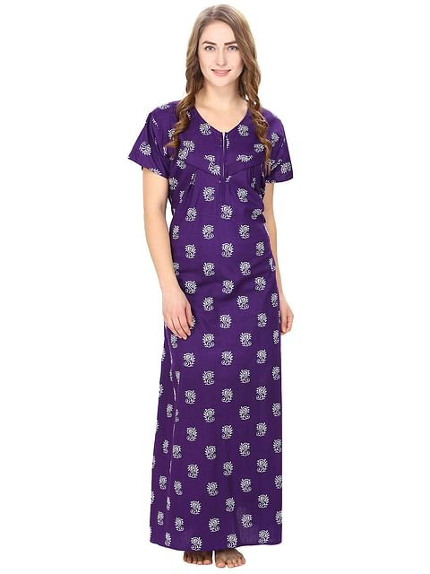 Secret Wish Women's Cotton Purple Printed Maternity Nighty (Free Size)