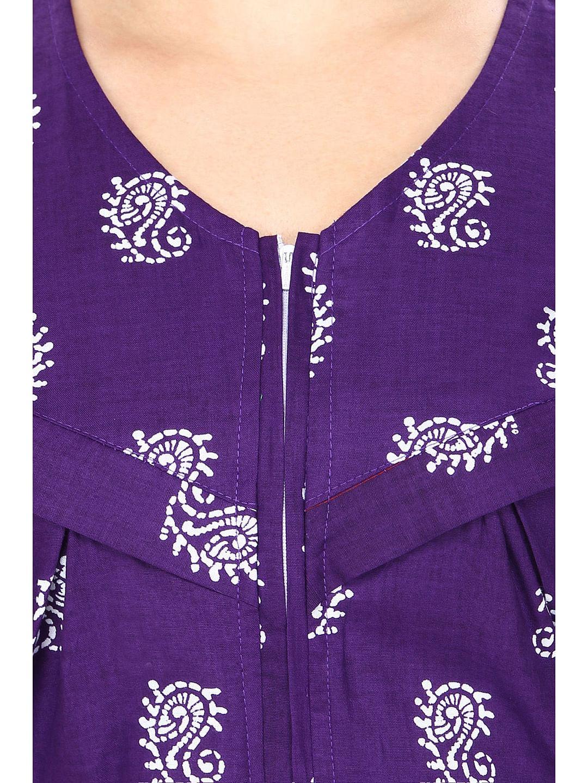 Secret Wish Women's Cotton Purple Printed Maternity Nighty (Free Size)