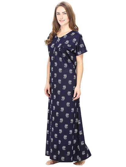 Secret Wish Women's Cotton Navy Blue Printed Maternity Nighty (Free Size)