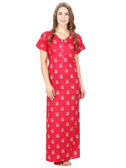 Cotton Pink Nursing Nighty, Nightdress