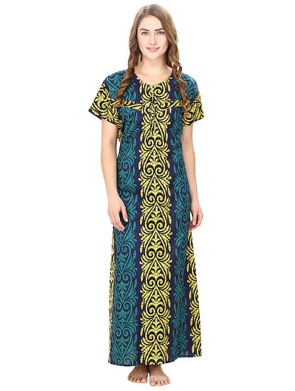 Cotton Turquoise Nursing Nighty, Nightdress