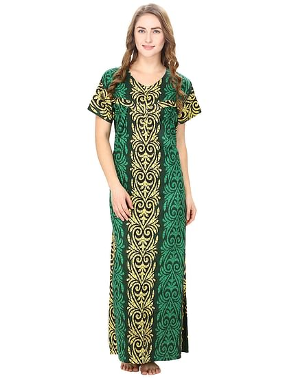Secret Wish Women's Cotton Green Printed Maternity Nighty (Free Size)