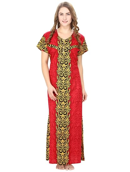 Cotton Dark Red Nursing Nighty, Nightdress
