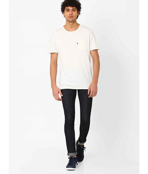Men's Sax Zip Skinny Fit Dark Blue Jeans