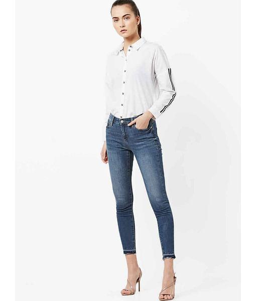 Women's Star mid wash skinny fit jeans