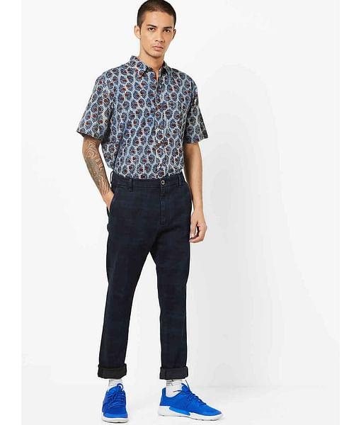 Men's Rush Straight Fit Checked Blue Chino