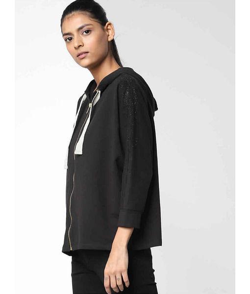 Women's regular fit full sleeves hooded Helis Strass sweatshirt