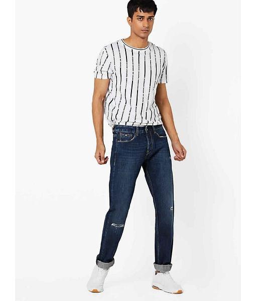 Men's Morrison Selvedge Straight Fit Dark Blue Distressed Jeans