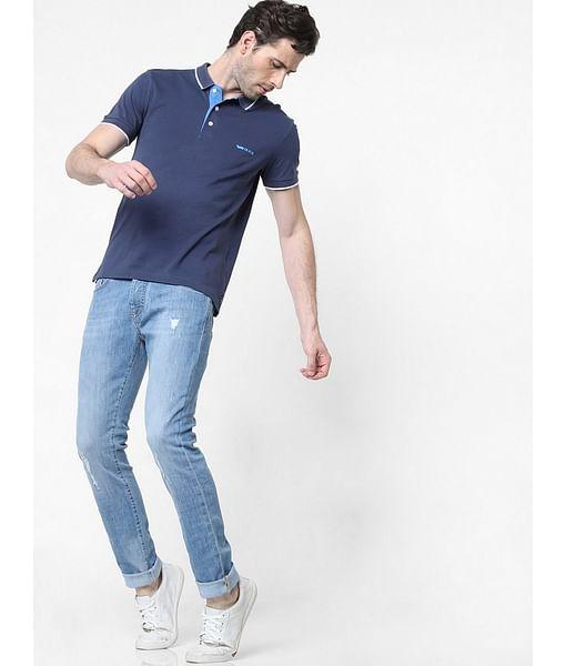 Men's Norton Carrot Fit Mid Blue Distress Jeans