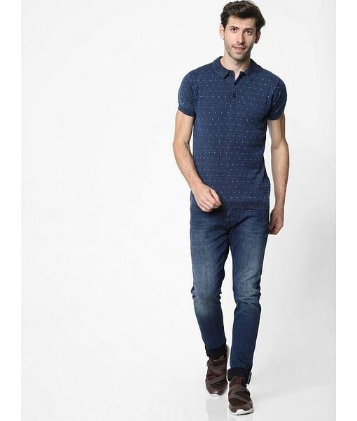 Men's Ryce printed blue polo t-shirt