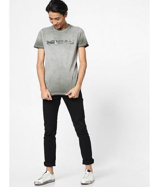 Men's Scuba camo printed round neck green t-shirt