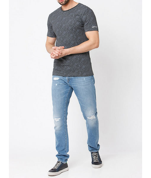 Men's Cobweb printed crew neck dark grey t-shirt
