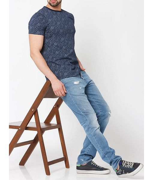 Men's Cobweb printed crew neck indigo t-shirt