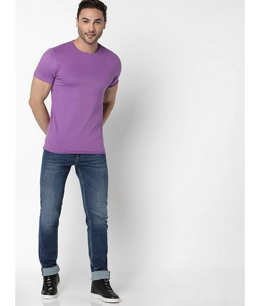 Men's Scuba Basic Solid Round Neck Purple T-Shirt