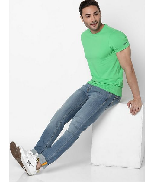 Men's Scuba Basic Solid Round Neck Green T-Shirt