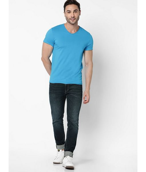 Men's Scuba V Basic Solid V-Neck Blue T-Shirt