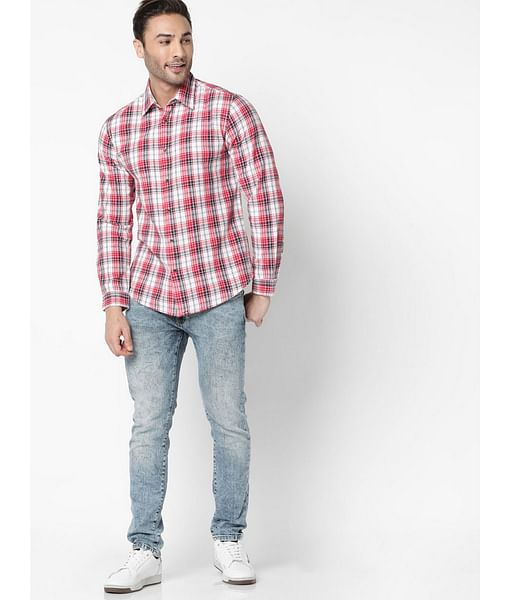 Men's Sir Det Red Checked Slim Fit Shirt