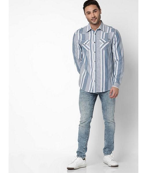 Men's Kant Full Sleeves Indigo Striped Shirt