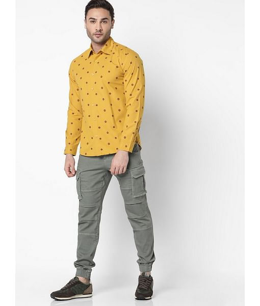 Men's Sir Det Printed Slim Fit Mustard Shirt