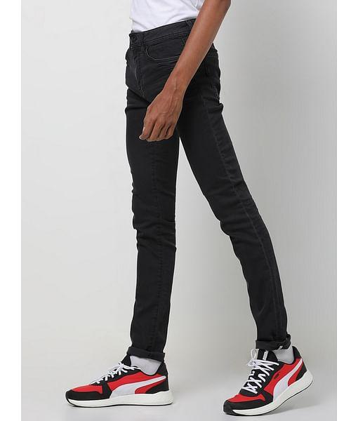 Men's Sax Zip Skinny Fit Black Jeans