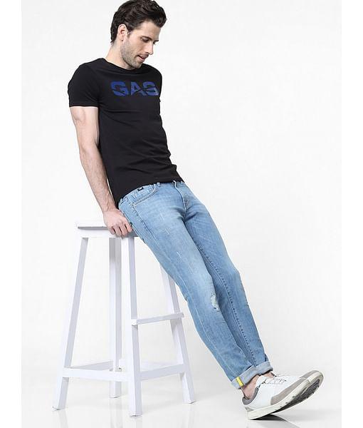 Men's Sax Zip Skinny Fit Blue Distressed Jeans