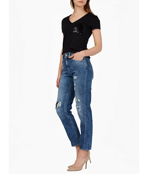 Women's mid wash distressed Dyane jeans