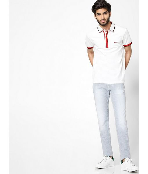 Men's Agap/s solid white polo t-shirt
