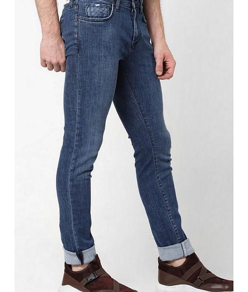 Men's Sax Zip Skinny Fit Mid blue Jeans