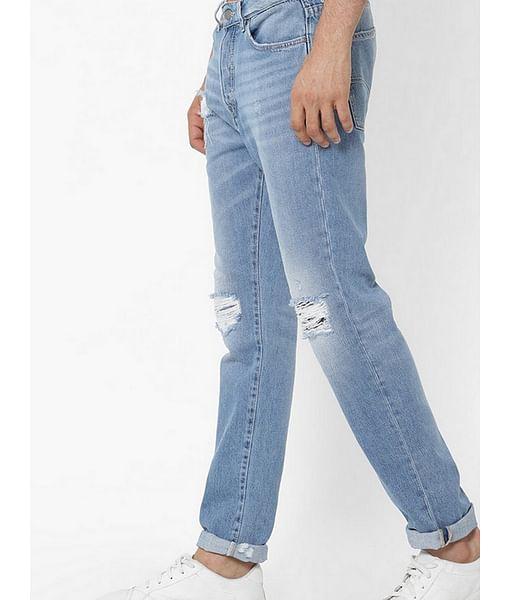Men's Norton Carrot Fit Blue Distress Jeans