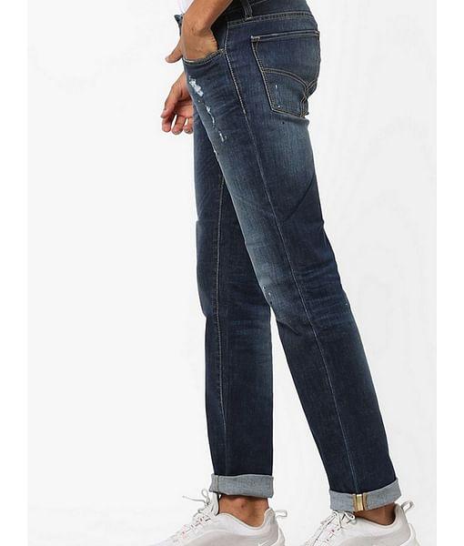 Men's Albert Simple Slim Fit Dark Blue Distressed Jeans
