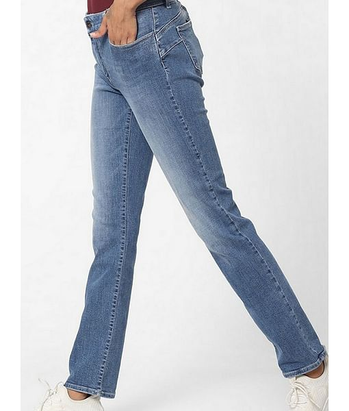 Women's Britty up bling mid rise medium wash slim fit jeans