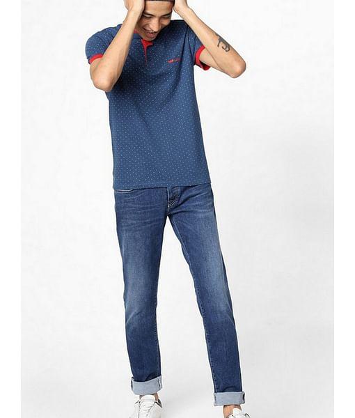 Luke Micro Print Polo T-shirt with Band Collar