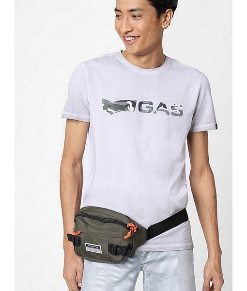 Men's Scuba Printed Round Neck Beige T-Shirt