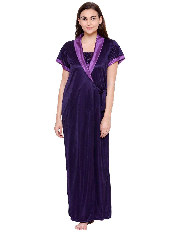 Secret Wish Women's Purple Solid Nightdress with Robe