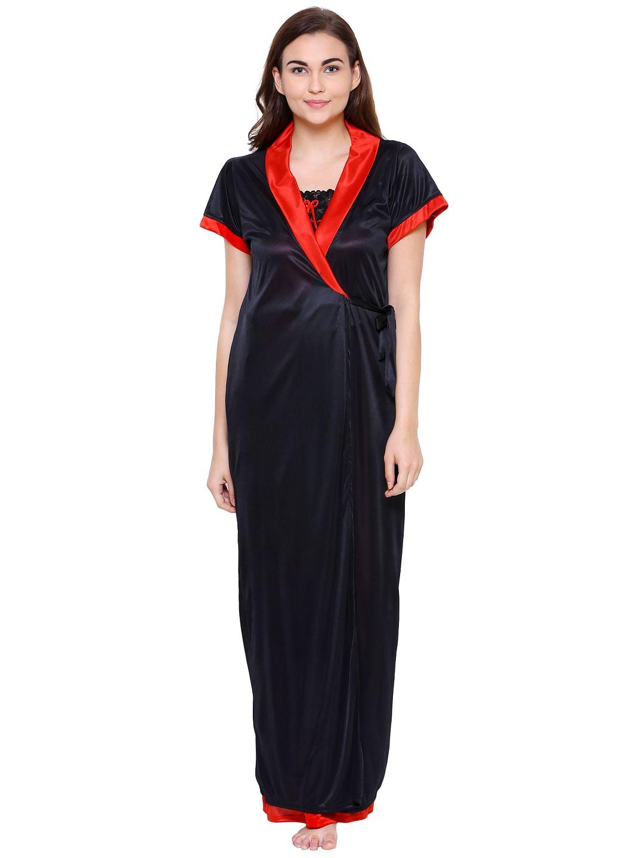Secret Wish Women's Satin Black-Red Nighty with Robe (Free Size)
