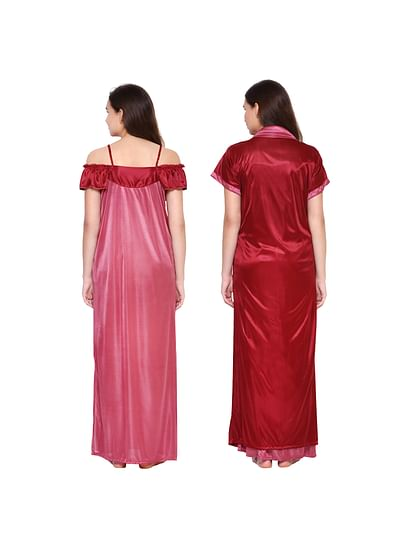 Secret Wish Women's Red Solid Nightdress