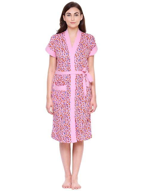 Secret Wish Women's Pink Cotton Bathrobe