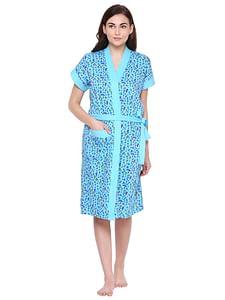 Secret Wish Women's Blue Cotton Bathrobe